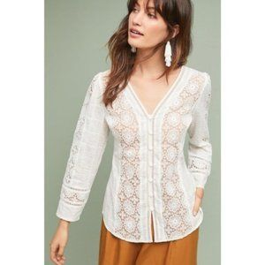 ANTHROPOLOGIE Tracy Reese Textured Lace Top {FF49}